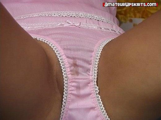 Easter bunny in wet, pink, cotton panties