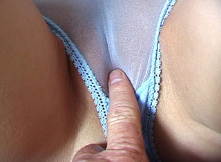 Teen pussy in see through blue panties